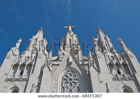 Tibidabo church secondary facade located at Barcelona, Spain