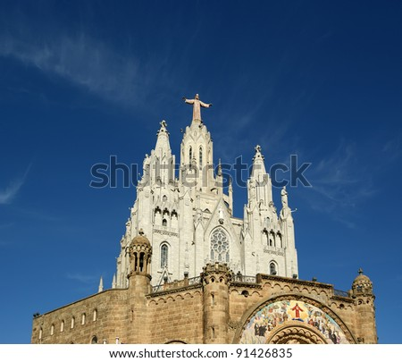Tibidabo church/temple, at the top of tibidabo hill, Barcelona, Spain