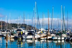 Tiburon, California yacht harbor with the San Francisco skyline in the background