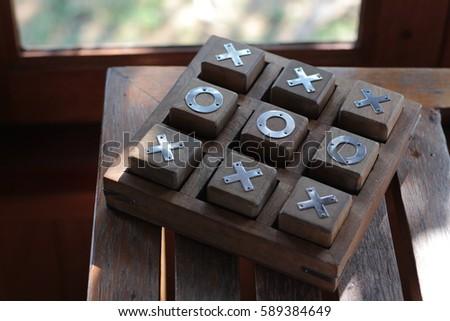 Tic Tac Toe game wood
