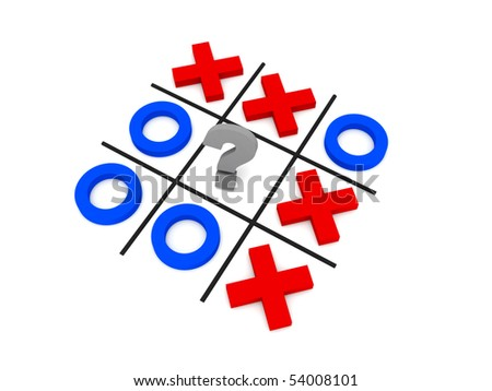 Tic-tac-toe, uncertainty. Crosses and zeros isolated on white background. High quality 3d render.
