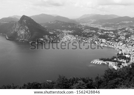 Ticino: panoramic view from Mount Bré to the city of Lugano and mount San Salvadore
