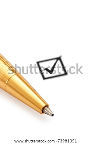 Tick box and pen isolated on white