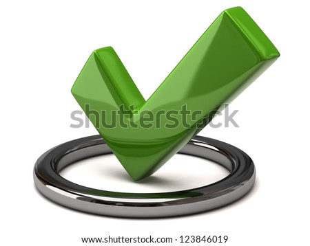 Tick icon - green tick mark in silver circle, 3d image