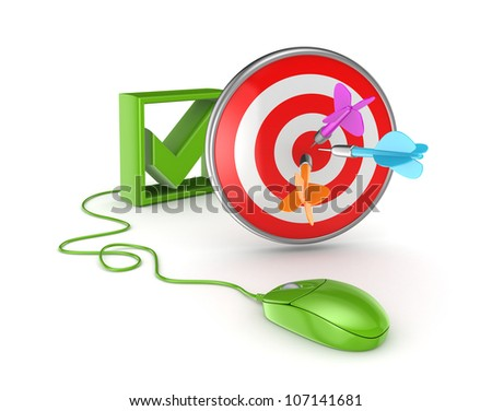 Tick mark, green mouse and dartboard.Isolated on white background.3d rendered.
