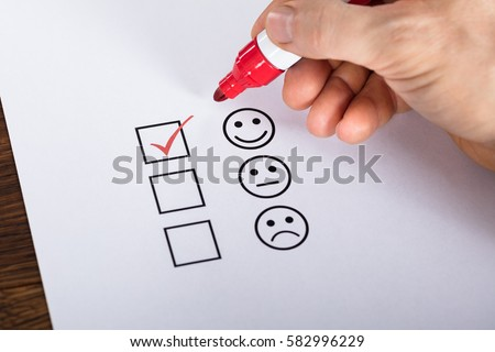 Tick Placed In Excellent Checkbox On Customer Service Satisfaction Survey Form #582996229
