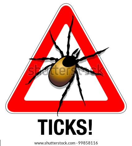 Tick warning Illustration of a tick warning sign - stock photo