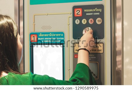 ticket automat in a sky train station at bangkok, thailand