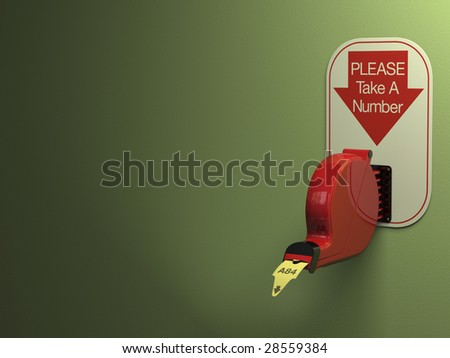 Ticket dispenser on dull green background with copy space.