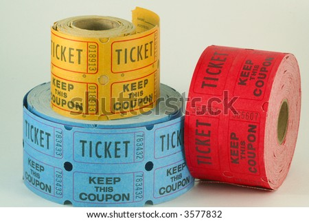 Tickets for a raffle or lottery