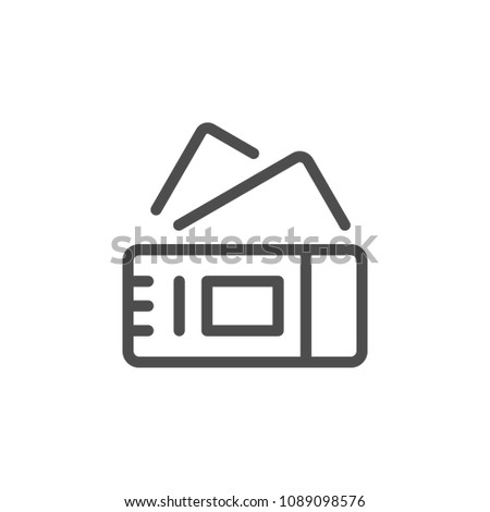 Tickets line icon isolated on white