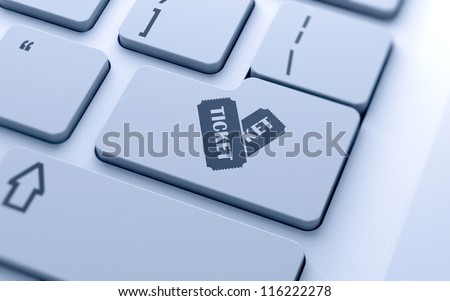 Tickets sign button on keyboard with soft focus