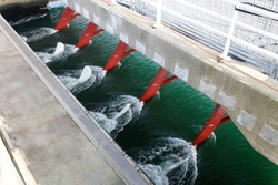 tidal current provides green electricity in the sea with turbines