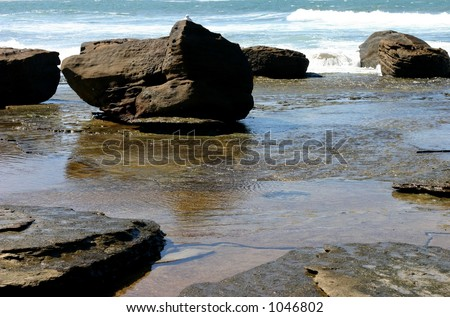 tidal pools amongst the rocks at lowtide