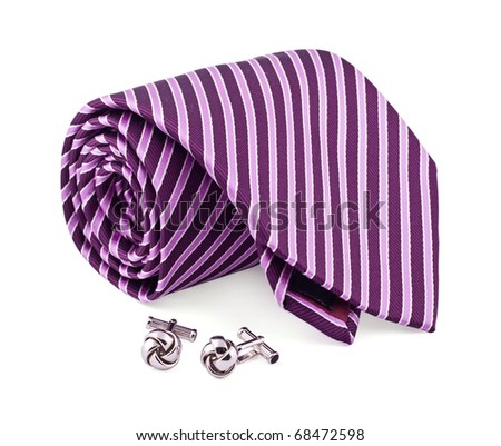 Tie and cuff links on the white
