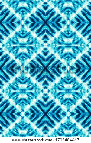 Tie And Dye Pattern. Aquarelle Art. Shibori Texture. Abstract Ethnic Artwork. Japanese Endless Natural Canvas. Boundless Abstract Painting. Indigo,Cyan,White Mess Tie And Dye Pattern.