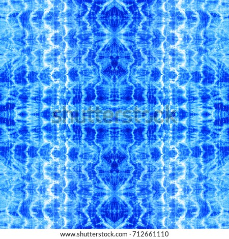 tie dye ancient resist-dyeing techniques Indigo blue textile seamless pattern abstract background on cotton fabric simple motifs, monochromatic color schemes, fashionable garments #712661110