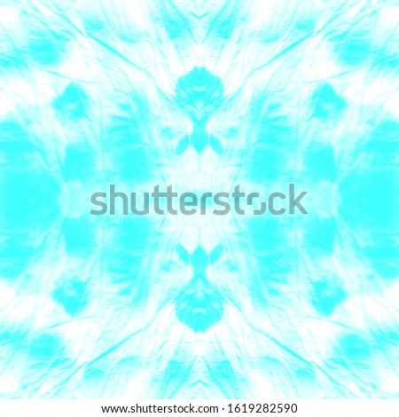 Tie Dye Background. Washing Effect Print. Ink Fluid. Abstract Bohemian Ornament. Bohemian Abstract Style. Blue,Cyan,White Line Geometric Rustic Style. Blot Tie Dye Background.