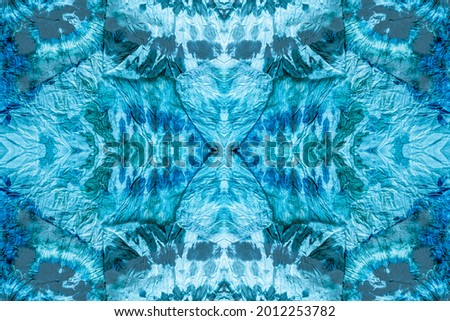 Tie Dye Circle. Seamless Tie And Dye. Aquamarine Tie Dye Effect. Aqua Seamless Dip. Aquamarine Watercolor Splash. Aquamarine Patina Effect.  Stock photo ©