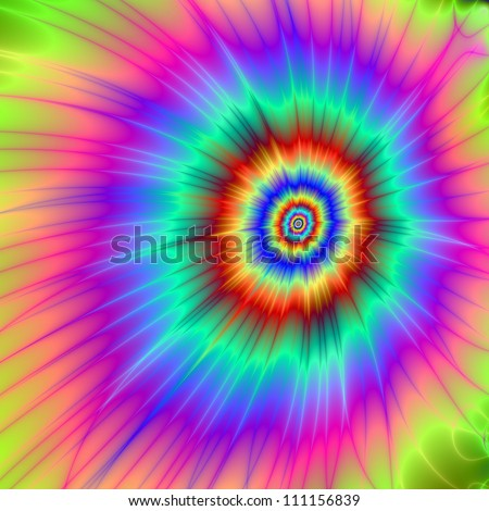 Tie dye Color Explosion/Digital abstract image with a Tie-dye Color Explosion design in pink, blue, purple, green, and red. - stock photo