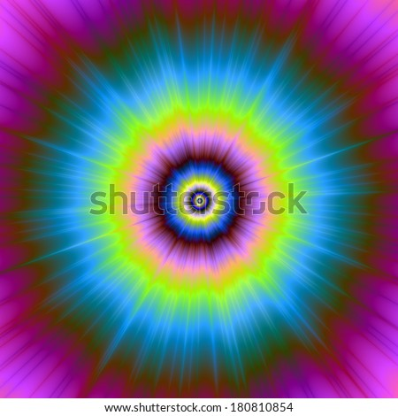 Tie-Dye in Blue Pink Yellow and Green / Digital abstract fractal image with a tie-dye design in blue, pink, yellow and green.