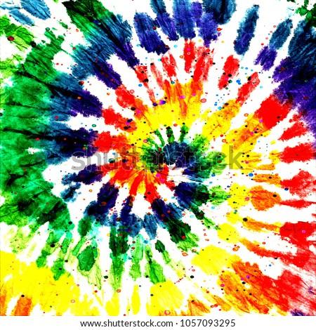 Tie dye pattern. Hand drawn rainbow shibori print. Ink textured japanese background. Modern batik iridescent. Watercolor multicolor template. Marble, suminagashi, erbu dye design. Hippie boho fabric.