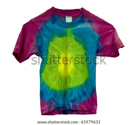 Tie dyed shirt isolated on white
