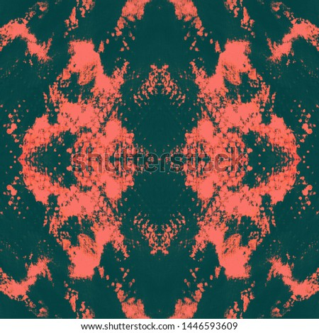 Tie effect. Dye effect. Dyeing textile ornament. Continuous illustration. Trendy Japan cotton background. Coral, black tie effect.