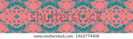 Tie effect. Dye effect. Handmade aquarelle ethnic design. Craft ethnic adornment. Vintage patchwork ornament. Pink, cyan, blue tie effect.