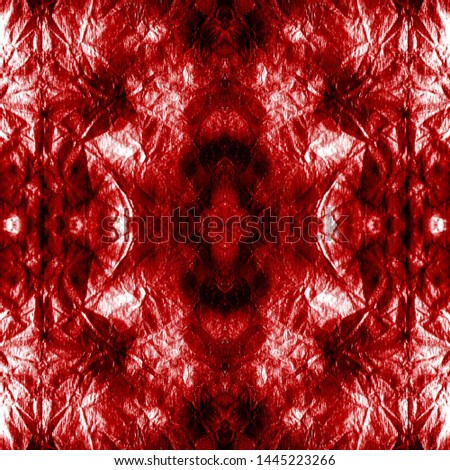 Tie effect. Tie dye background. Bohemian fashion painting. Hand drawn ink ornament. Shibori boundless backdrop. Bloody red, white tie effect.