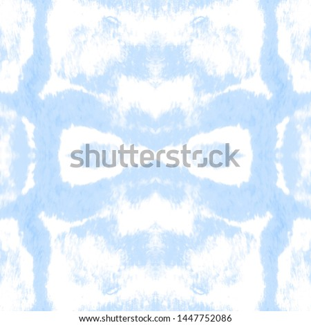Tie effect. Tie dye background. Craft bohemian painting. Boho infinite backdrop. Endless zigzag background. Azure, white tie effect.