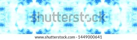 Tie effect. Tie dye background. Craft ethnic adornment. Boho style geometric backdrop. Hand drawn ink ornament. Blue, cyan, white tie effect.