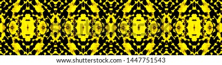 Tie effect. Tie dye background. Dyeing textile ornament. Continuous illustration. Boho style geometric backdrop. Black, gold, orange tie effect.