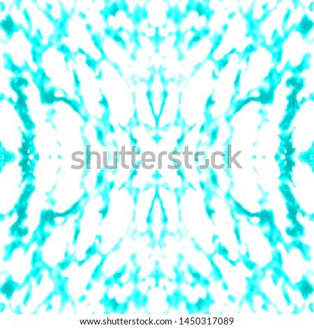 Tie effect. Tie dye background. Shibori organic backdrop. Distressed illustration. Vintage rustic ornament. Aqua, white tie effect.