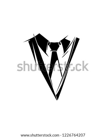 shutterstock puzzlepix Bro Suit Logo tie logo silhouette necktie icon part of men s suit clothing in business style