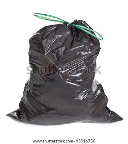 tied garbage bag on white background - stock photo