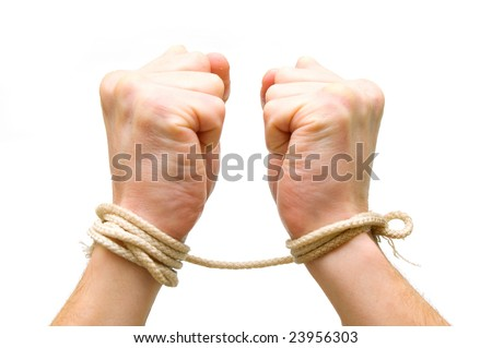 Tied hands on white background