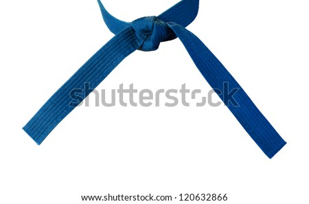 Tied Karate blue belt closeup isolated on white background