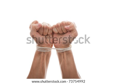tied male hands isolated on the white background - stock photo