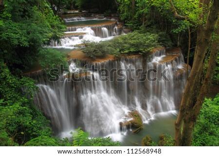 Tier 4 of Huay Mae Khamin Waterfall in Kanchanaburi Province, Thailand