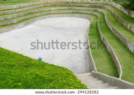 tiered seat of the amphitheater and outdoor stage