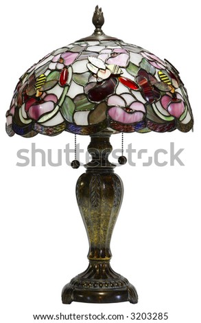 Tiffany Glass Table Lamp with Bumble Bee Accents