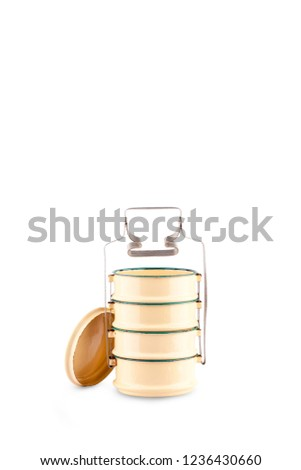 tiffin box or food container for food packaging on white background thailand kitchenware object isolated