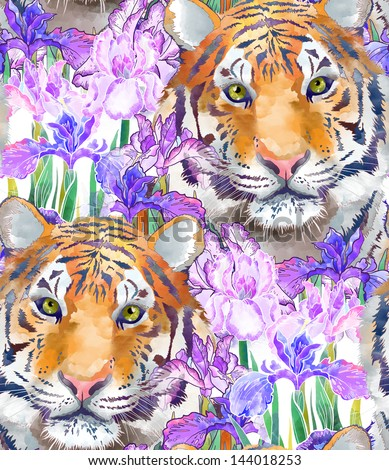 Tiger and flowers iris