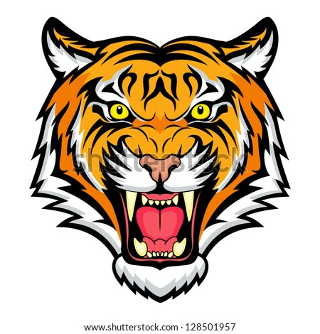 Tiger anger. Illustration of a tiger head.  Raster version, vector file also included in the portfolio.