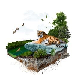 Tiger. 3d isometric. The file contains a path for cutout