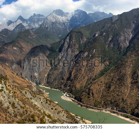 Tiger Leaping Gorge, a scenic canyon on the upper Yangtze River in Yunnan province, China #575708335