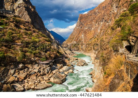 Tiger Leaping Gorge ,deepest mountain hole in world, in Lijiang, Yunnan Province, China. #447621484