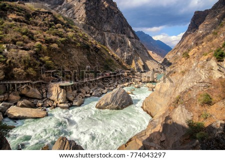 Tiger Leaping Gorge ,deepest mountain hole in world, in Lijiang, Yunnan Province, China. #774043297