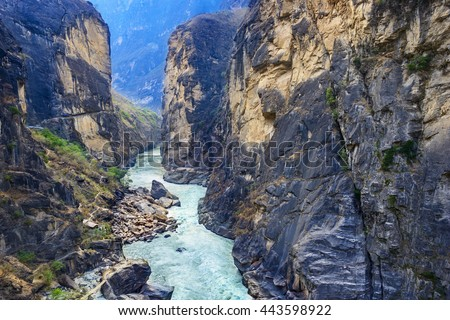 Tiger Leaping Gorge. Located 60 kilometres north of Lijiang City, Yunnan Province, China. #443598922